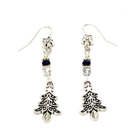 Christmas : Antique Silver Christmas Tree Dangle Fish Hook Earrings For Women / AZAEXA003-ASL