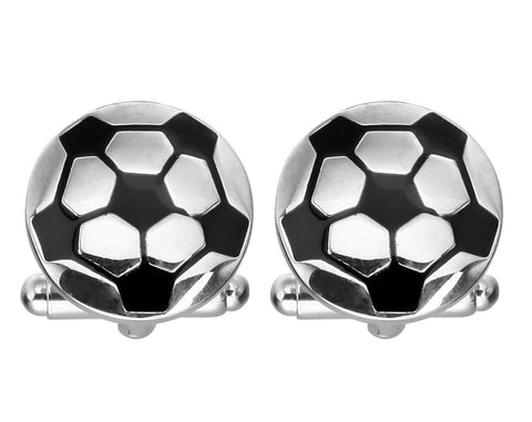 Fashion Trendy Men's French Shirts Soccer Cuff links Cuff lings Cuff Buttons Cufflinks For Men's and Women's / AZCFSP001-SBK