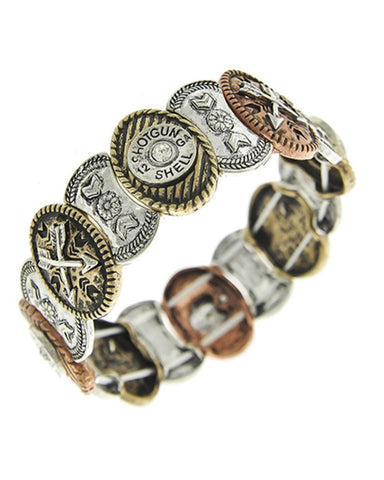 WESTERN Bullet & Arrow Tri Tone Metal Stretch Bracelet For Women / AZBRSW728-AMU