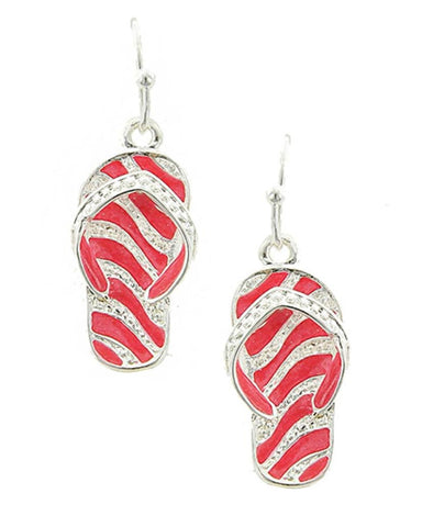 Fashion Trendy Zebra Pattern Flip Flop Dangle Earrings For Women / AZERFF690-SPI