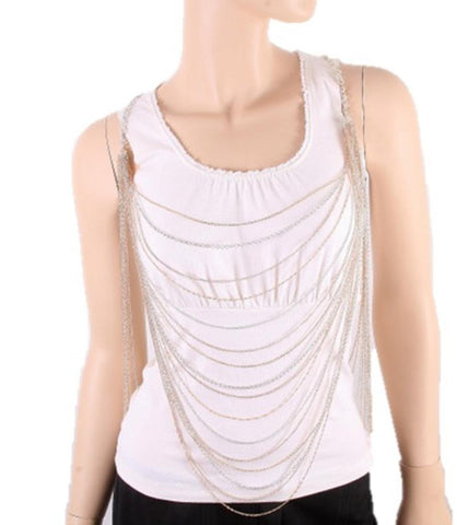 Fashion Trendy Body Chain - Silver & Gold for Women / AZFJBC003-GSL