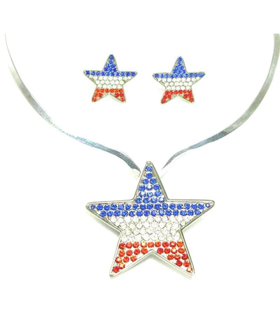 Fashion Trendy Independence Austrian Crystal Patriotic Pendant & Clip Earrings for Women