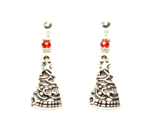 Christmas : Antique Silver Christmas Tree Dangle Post Earrings For Women