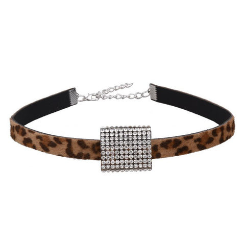 Fashion Classic Romantic Crystal Leopard Choker Collar Necklace for Women