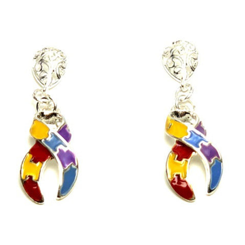 Autism Puzzle Ribbon Dangle Earrings Fashion Novelty Jewelry for Women / AZAEAU002-SMU
