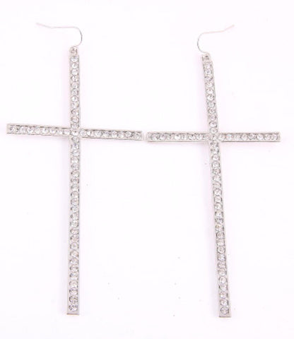 Cross Hook Earrings - Silver Clear