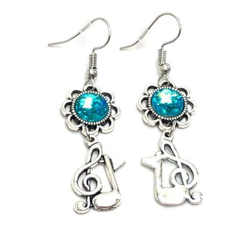Fashion Handmade MusicalTreble Clef Eighth Music Note Dangle Earrings For Women / AZAEDM802-ASB