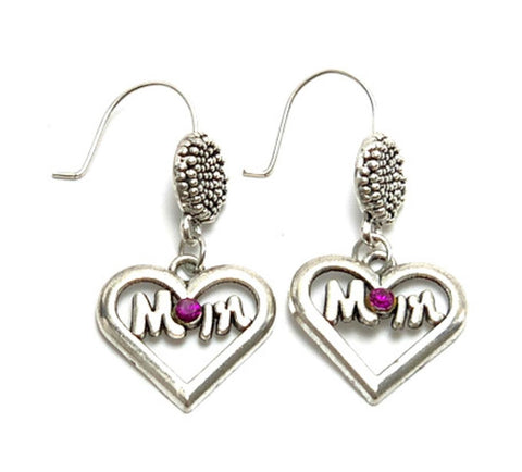 "Mother's Day ""Love Mom"" Fish Hook Earrings For Women / AZAELM502-ASP"