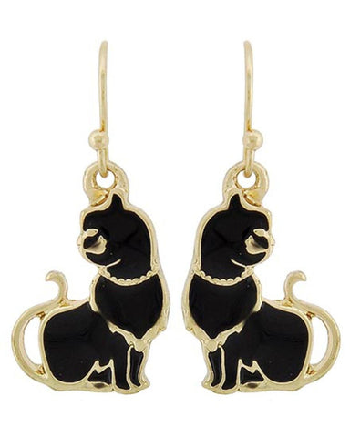 Arras Creations Fashion Trendy Pet Lover/Cat Dangle Fish Hook Earrings for Women / AZERCT265-GBK