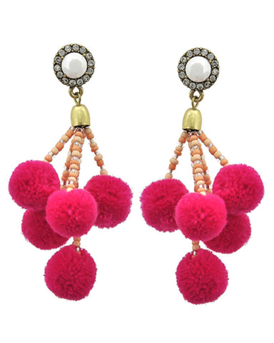 Fashion Trendy Pom Pom Ball Dangle Earrings for Women / AZERPP703-APC