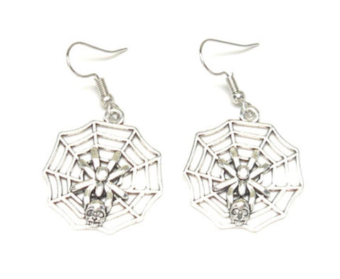 Fashion Halloween SpiderWeb Dangle Fish Hook Earrings For Women / AZAEHA002-ASL