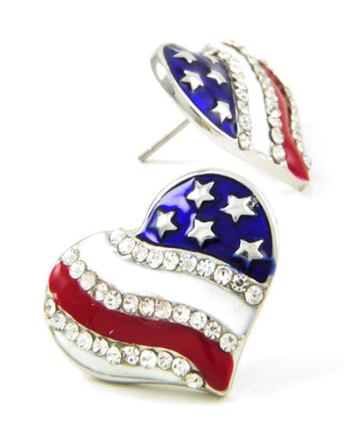 Fashion Independence Day American Flag Heart Button Post Earring For Women
