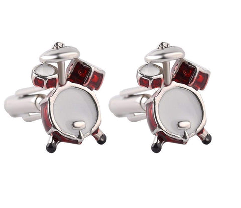 Musical Instrument Drum Set French Shirts Music Drum Set Cufflinks Cuff lings Cuff Buttons Cuff Link For Men's and Women's / AZCFMU005-SRW
