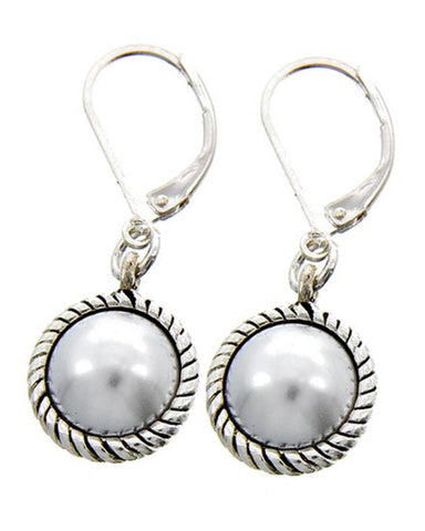 Antique Silver Tone White Imitation Pearl Lever Back Dangle Earring For Women / AZERPE741-SPE