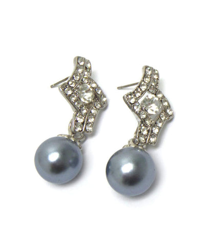 Crystal Imitation Pearl Dangle Post Earrings / AZERFH289-SPE