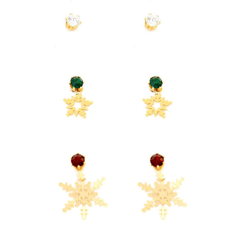 3-Pairs Crystal Cubic Zirconia CZ Christmas Light Snowflake Drop Earrings / AZERFH189-GGR-CHR