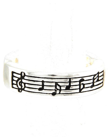 MUSIC Antique Silver Music Note Stretch Ring