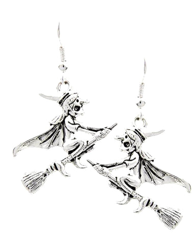 Fashion Halloween Witch Dangle Fish Hook Earrings For Women / AZERHE184-BSL