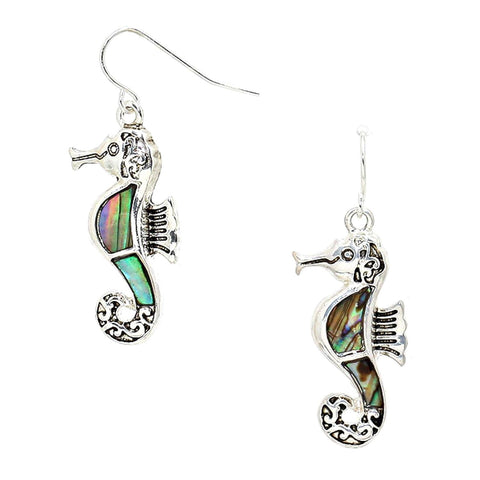 Sea Life Fashion Abalone Sea Horse Dangle Earrings for Women / AZERSEA087-SAB