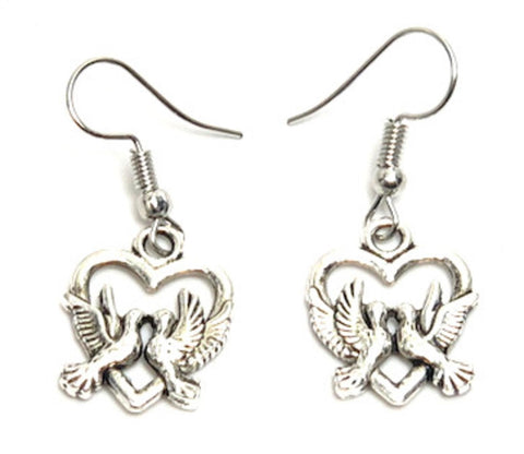 Fashion Trendy Valentine Heart Love Dove Dangle Earrings For Women / AZAEVE001-ASL