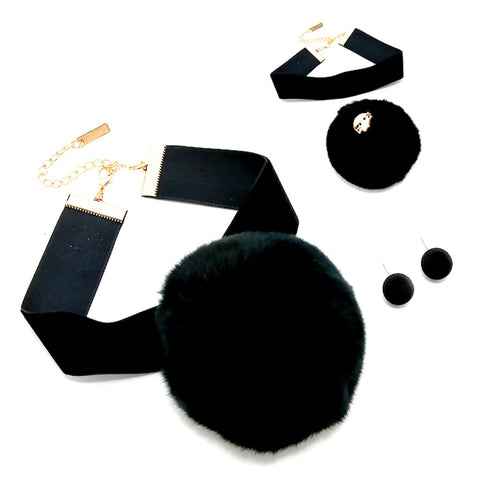 Arras Creations Fashion Trendy Velvet Choker Necklace with Detachable Pom Pom Brooch for Women / AZVGNEW70-BLK