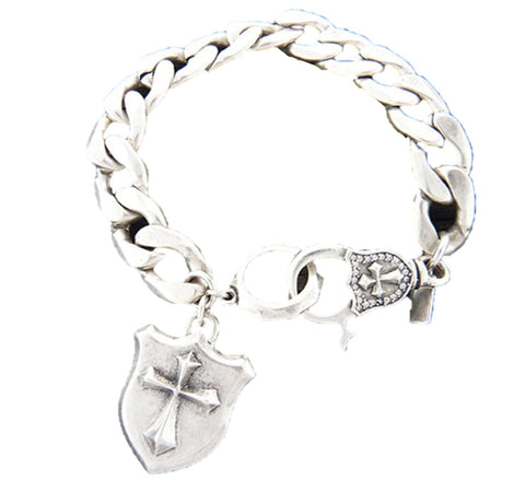 Mens stainless steel wide chain bracelet - Cross shield charm - 8 inch