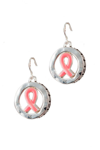 Arras Creations Pink Ribbon 3D Hook Earring - Breast Cancer Awareness for Women / AZERBCA013-SPK