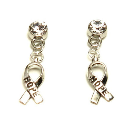Arras Creations Breast Cancer Awareness Ribbon with Hope Dangle Earrings for Women / AZEABC202-ASC