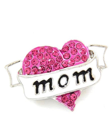 Mother's Day / Pink Mom W/ Heart - Brooch/pin / AZFJBR038-SPI-MOM
