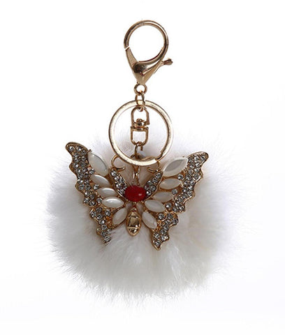 Rhinestone Rabbit Fur Pom Pom with Butterfly Key Chain / Bag Charm / AZKCPCA05-GWH
