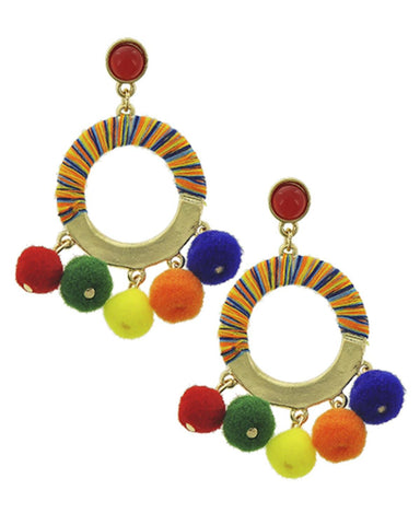 Fashion Trendy Pom Pom Ball Dangle Earrings for Women / AZERPP717-MUL