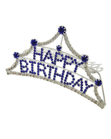 Fashion Silver Tone Blue Rhinestone Happy Birthday Small Tiara Comb