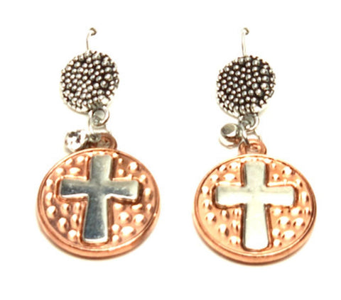 Cross : Cross Dangle Fish Hook Cross Earrings For Women / AZAELJ102-CSL