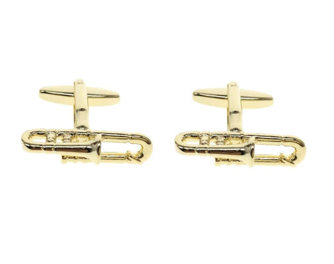 Fashion Trendy Men's French Shirts Music Trombones Cuff links Cuff lings Cuff Buttons CuffLinks For Men's and Women's / AZCFMU015-GLD