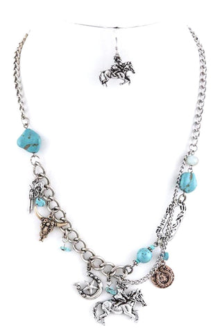 WESTERN Fashion Antique Cowboy charm Necklace Set for Women