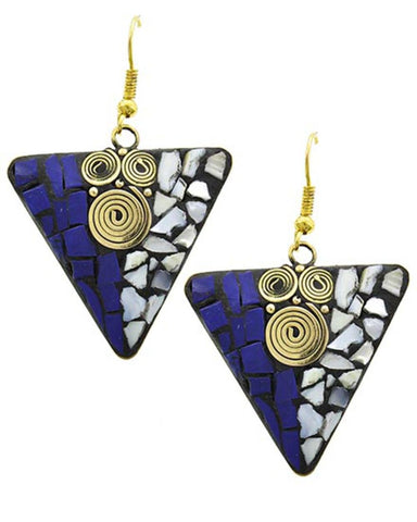 Antique Gold Tone Blue Stone & Natural Shell Shards Dangling Earring / AZERFH287-GBL