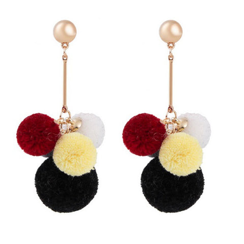 Fashion Pom Pom Ball Drops Long Pin Dangle Earrings for Women / AZERPP005