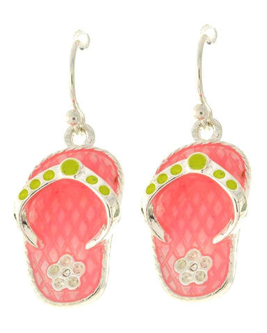 Silver Tone Pink Epoxy Flip Flop Dangle Earring / AZERFF624-SMU