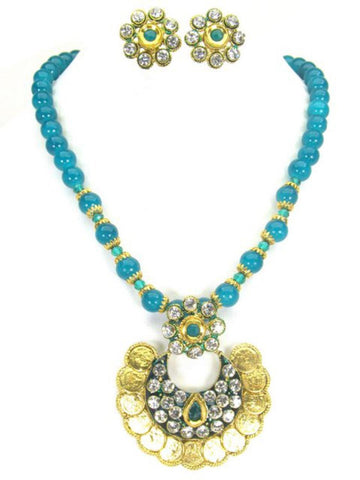 Authentic Designer Indian Beaded Ram Leela Coin Polki Necklace Set for Women