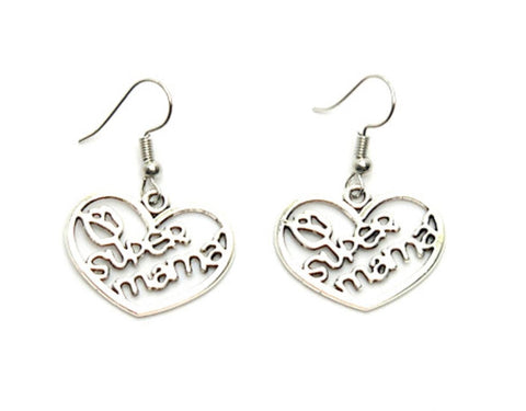 "Mother's Day Heart ""Super Mama "" Earrings For Women / AZAELM002-ASL"