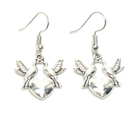 Fashion Trendy Valentine Heart Love Dove Dangle Earrings For Women / AZAEVE003-ASL