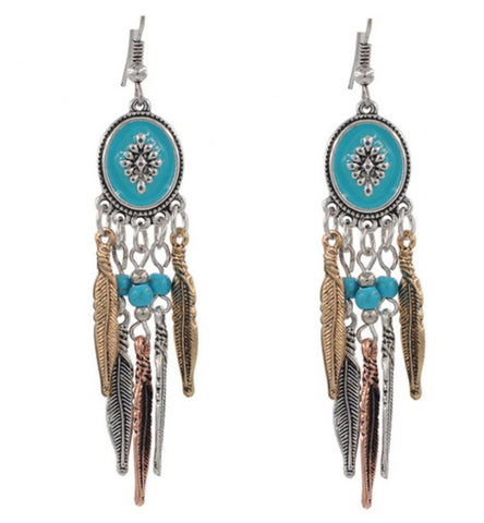 Bohemian Vintage Long Leaves Tassel Ethnic Earrings / AZERAL007-ATU