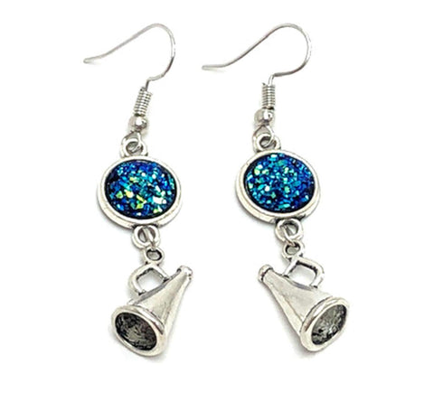 Fashion Trendy Handmade Cheer Leading Megaphone Charm Dangle Earrings For Women / AZAEMI192-ASB