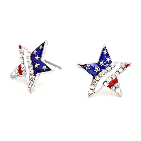 Fashion Trendy Independence Day American Flag Star Stud Earrings For Women