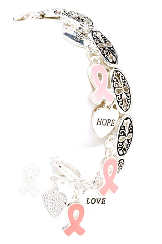 Breast Cancer Awareness Pink Ribbon Casting Love Stretch Bracelet For Women
