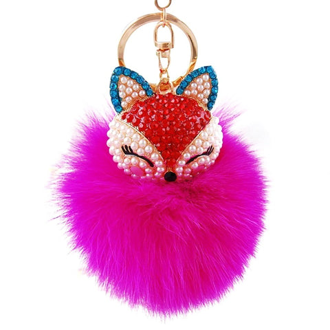 Rabbit Fur Pom Pom with Fox Charm Key Chain / Bag Charm / AZKCPCA06-GDP