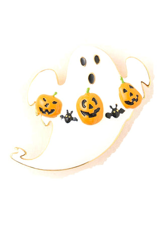 Arras Creations Halloween Ghost with Pumpkin Decoration Brooch - White,Black,Orange
