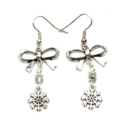 Christmas : Antique Silver Bow & Snow Flakes Dangle Fish Hook Earrings For Women / AZAEXA017-ASL