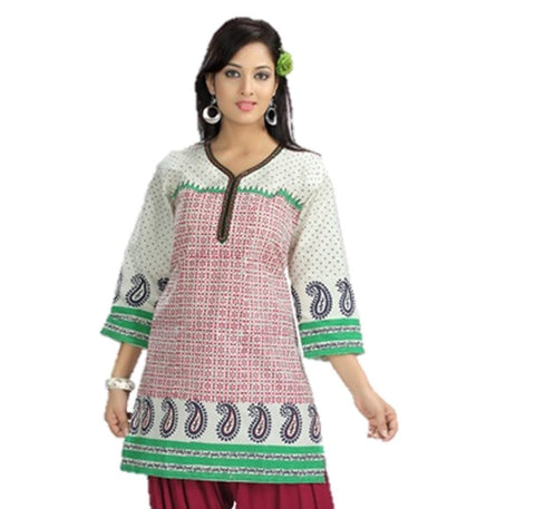 Designer Block Print Cotton Womens Indian Kurti / Tunic Top