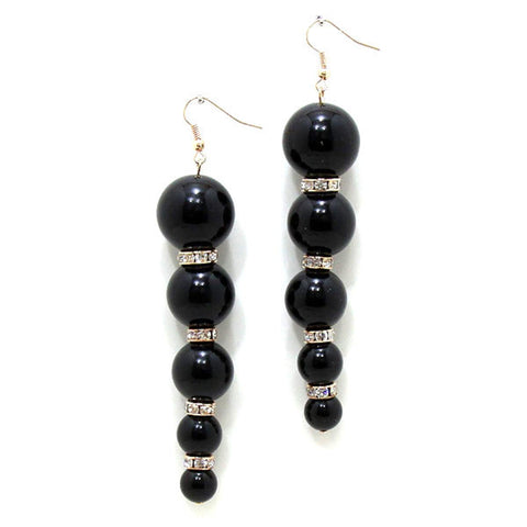 Graduated Pearl Fringe Earrings / AZERFH258-GBK